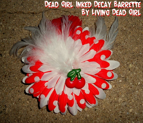 SLASHER SALE Hair Barrette: Dead Girl Inked Decay Cherry Red and White Polka Dot Feather Flower Accessory