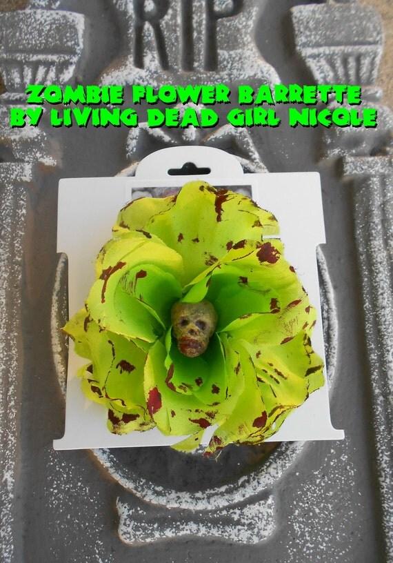 Hair Barrette: Dead Girl Decay-  Zombie Head Bloody Lime Green Flower Psychobilly Horror Movie Halloween Handmade Accessory