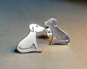 Little Dog Stud Earrings in Sterling Silver - FREE Postage