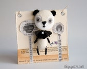 Art Doll Brooch Panda mixed media collage