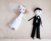"Made to order, Custom Wedding Portraits Personalized Art Dolls ""Classic Bride & Groom"" Save the Date"
