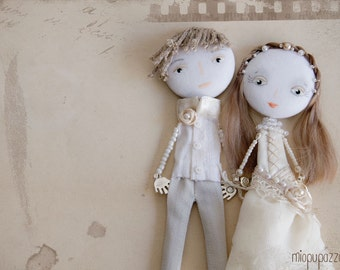 """Made to order Custom Wedding Portraits Personalized Art Dolls """"Bride & Groom"""" Mixed Media Collage"""