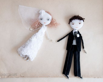 """Made to order, Custom Wedding Portraits Personalized Art Dolls """"Classic Bride & Groom"""" Save the Date"""