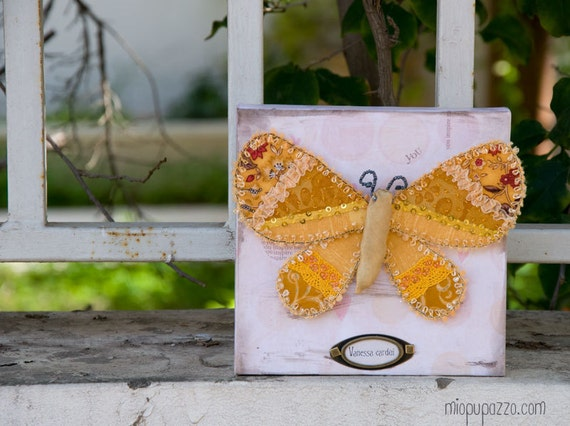 Spring Sale -20% Textile wall art - Crazy quilted Yellow Fabric Butterfly with decorative panel.
