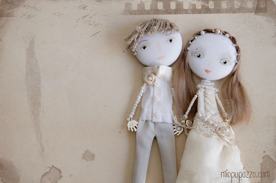 "Made to order Custom Wedding Portraits Personalized Art Dolls ""Bride & Groom"" Mixed Media Collage"