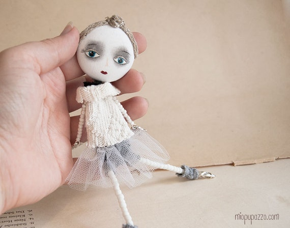 Art Doll Brooch Young Ballerina mixed media collage