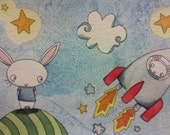 White Bunny Rabbit Rocket Watercolor Illustration - To The Moon