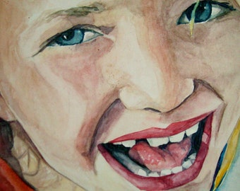 """Custom Watercolor Child Portrait From Photo - 12"""" x 12"""" Stretched Canvas"""
