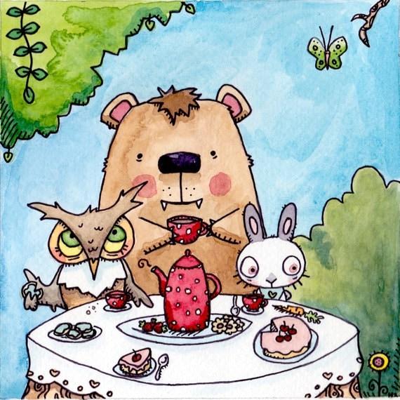 Woodland Tea Party - Owl Bear Rabbit Illustration Print