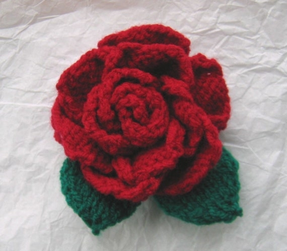 Knitting Patterns For Christmas Brooches : Rose Knitting Pattern Brooch corsage or embellishment