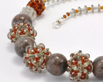 Tutorial Bead Jewelry Making PDF Pattern, Necklace, Stone and Glass