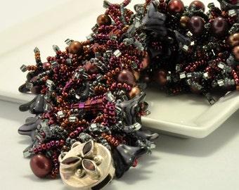 Tutorial Bead Jewelry Making PDF Pattern - Lush Cuff Bracelet