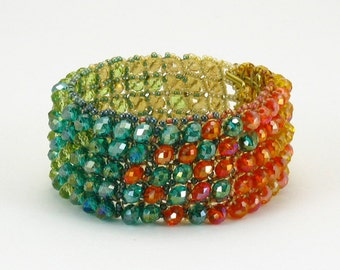 Tutorial Bead Jewelry PDF Pattern, Window Pane Bracelet
