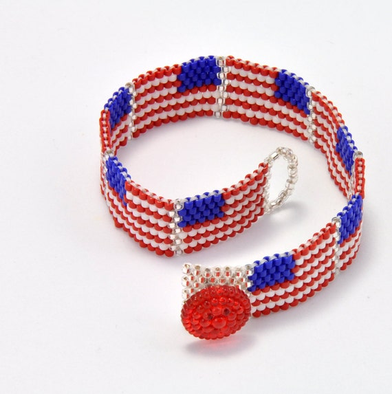 Tutorial bead jewelry pdf pattern u s flag peyote for Patriotic beaded jewelry patterns