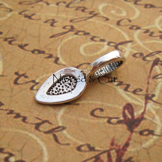 50 Glue On Pendant Bails Silver Spoon Shaped 21mm x 8mm