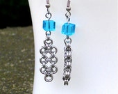 Chainmaille Earrings - Deco Drama for the Decade Earrings - Blue