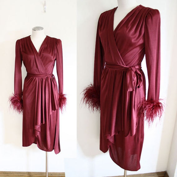 70s - Maroon Feather Wrap Dress - S