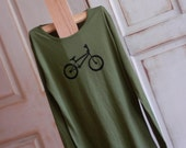 Green and Black Small Women's Organic Bike Long Sleeve T-Shirt