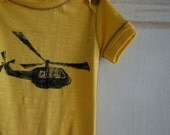 3-6 Month Blue and Yellow Infant Organic Helicopter Onesie