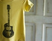 2T Toddler Yellow and Black Organic Guitar T-Shirt