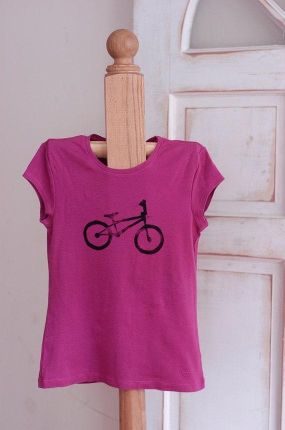 Large Fuchsia and Black Girl's Upcycled Bicycle T-Shirt
