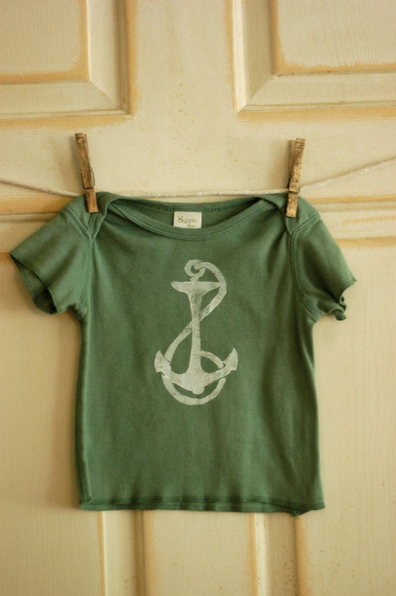 18 Month Infant White on Sea Foam Green Anchor Lap Tee