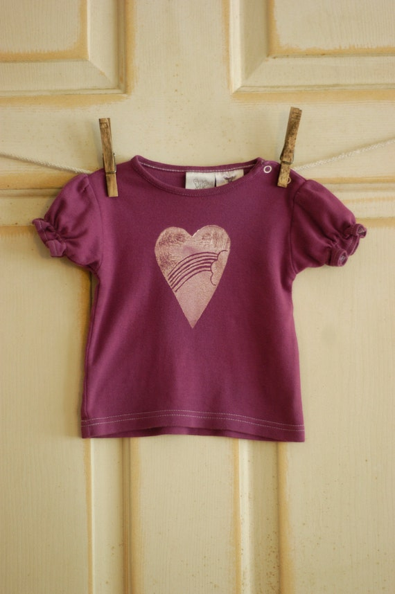 3 Month Infant Upcycled Rainbow Heart T-Shirt