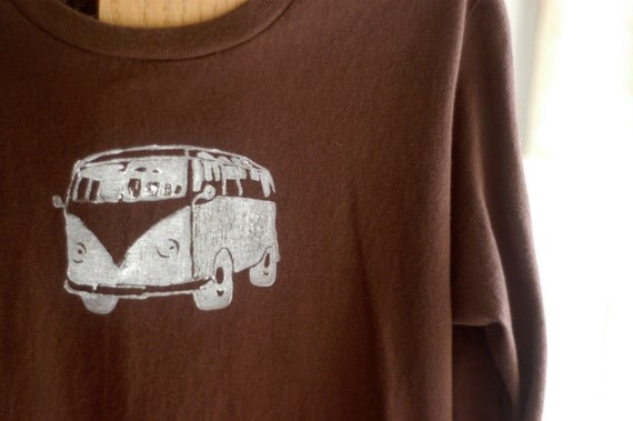 Small Brown and White Adult's Organic VW Bus Long Sleeve T-Shirt