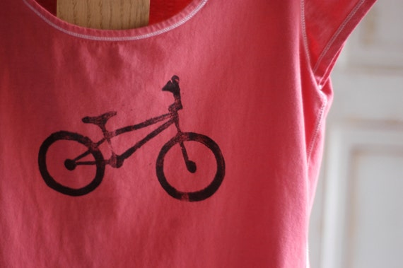 SALE Small Women's Upcycled Scoop neck Bike T-Shirt