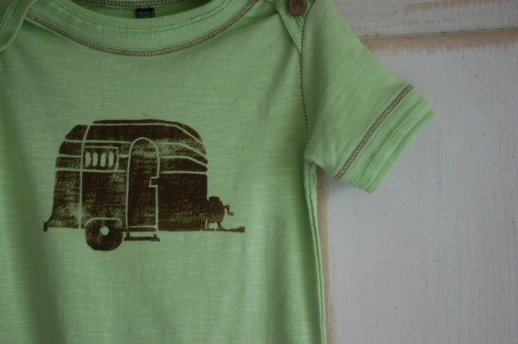 12-18 Month Apple Green with Brown Organic Airstream Short Sleeve Onesie