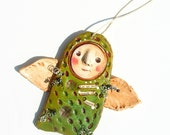 Folk Art Angel Ornament - Primitive - Hand Painted Paper Clay - Collage- Peace  - by WeeMeeWhimsies