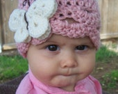 Toddler to Child  butterfly beanie hat in pink with cream and chocolate brown