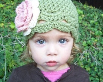 Baby flower beanie hat dusty green with pink and cream or you pick color