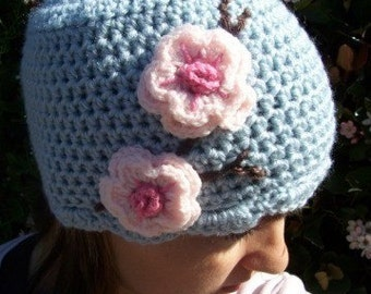 Adult size Cherry Blossom hat sky blue or you pick color