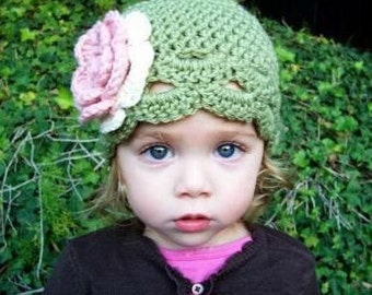 Toddler to Child size flapper hat dusty green or you pick color