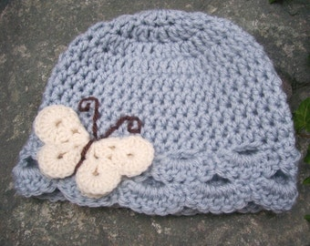Child size butterfly hat light blue with cream