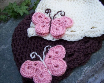 Twin set Infant size butterfly hat cream and chocolate brown