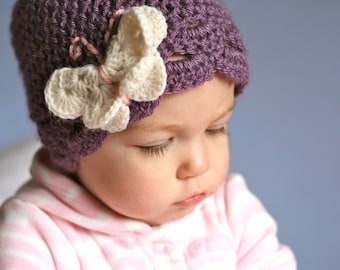 Child size butterfly hat in dusty purple with cream butterfly