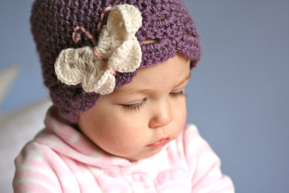 Sale Infant size 9-12 months butterfly hat in dusty purple with cream and pink