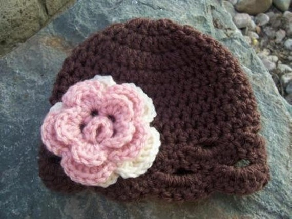 9 - 12 months flower flapper hat chocolate brown with pink and cream flower