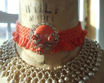Choker Necklace Vintage Jewelry Upcycled and Lovely