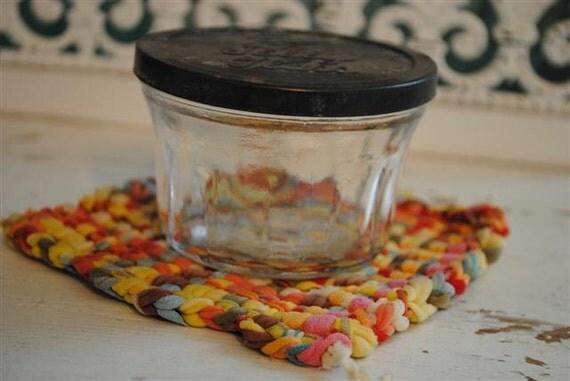 Vintage Ball Jelly Glass Jar Tiny and Adorable