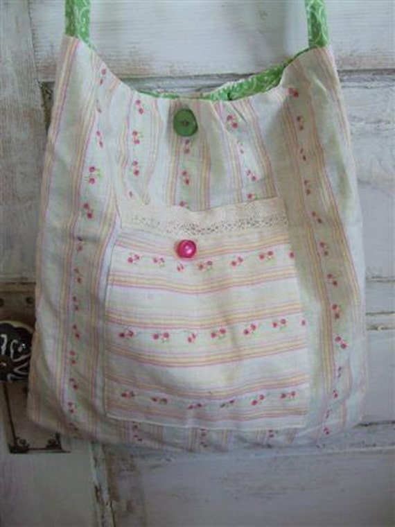 Boho Bag Extra Long Straps Cream and Pink Cottage Chic Loveliness