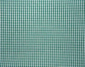 Green Gingham Fabric, Green and White Checked Cotton Fabric, 1/8 inch check gingham pure cotton fabric