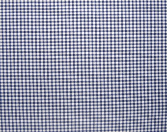 Royal Blue Gingham Fabric with 1/8 inch check, Blue and White Checked Cotton Fabric for patchwork, quilting and crafts