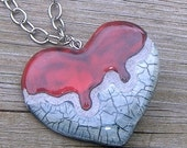 Dripping Heart Mosaic Tile Necklace