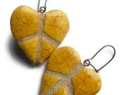 Peace Sign Heart Earrings : Reversible Mosaic Tile