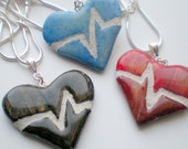 Heart Necklace : Black, Red, Blue, Purple, Gold Beating Heart Mosaic Tile Reversible