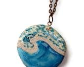 Ocean Wave Necklace : Mosaic Tile Reversible Pendant
