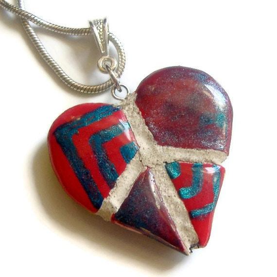Peace Sign Heart  Pendant : Ethnic Tribal Reversible Mosaic Tile Necklace